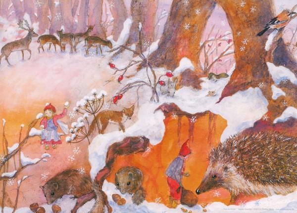 Kunstdruck Tiere im Winter