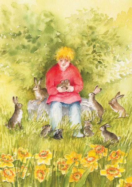 Hasen und Kind Postkarte