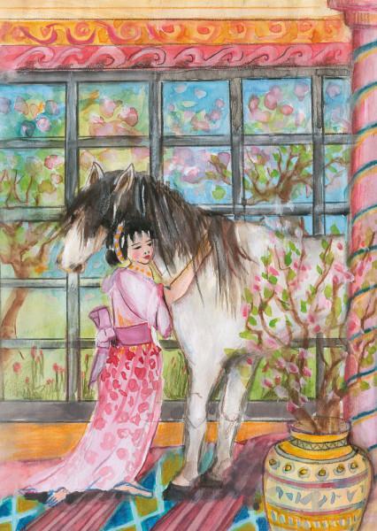 Das Pferd und das Mädchen Postkarte