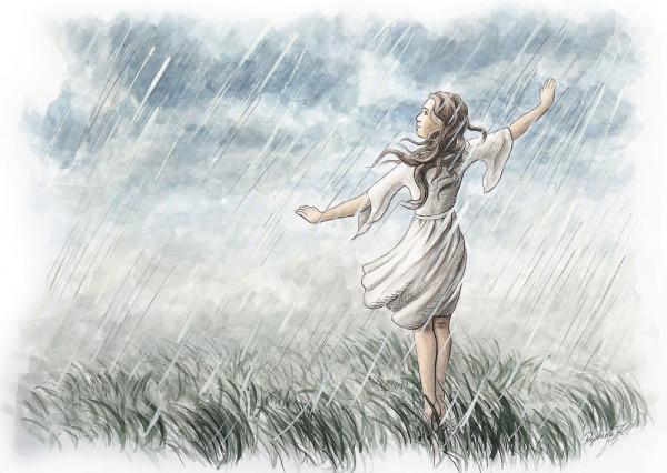 Tanz im Regen Postkarte
