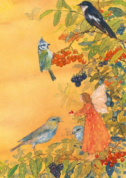 Postkarte Elfe und Vögel