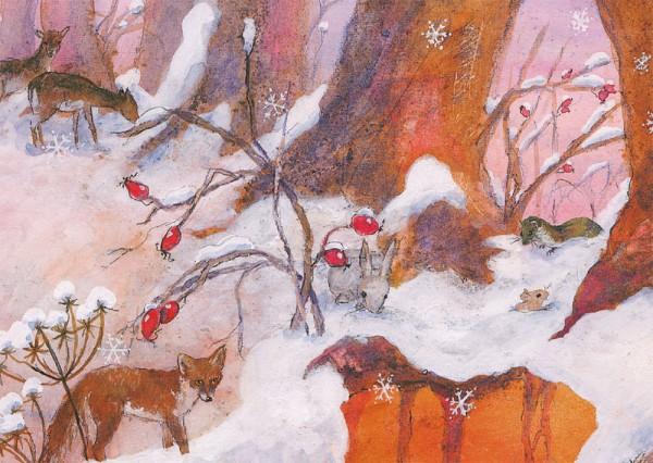 Fuchs im Schnee Postkarte