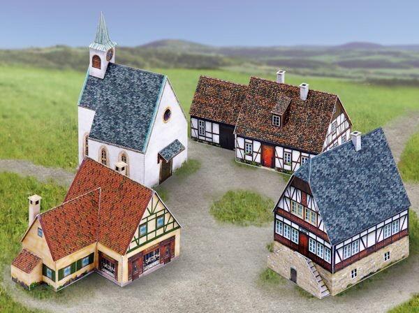 """Kartonmodellbau """"Kleines Dorf-Ensemble"""""""