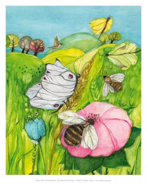 Tischbild Biene, Blüte, Schmetterling