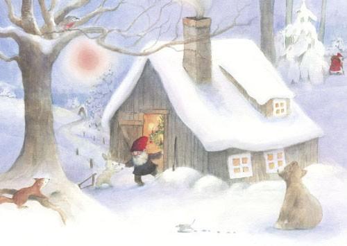Weihnacht im Wald Postkarte
