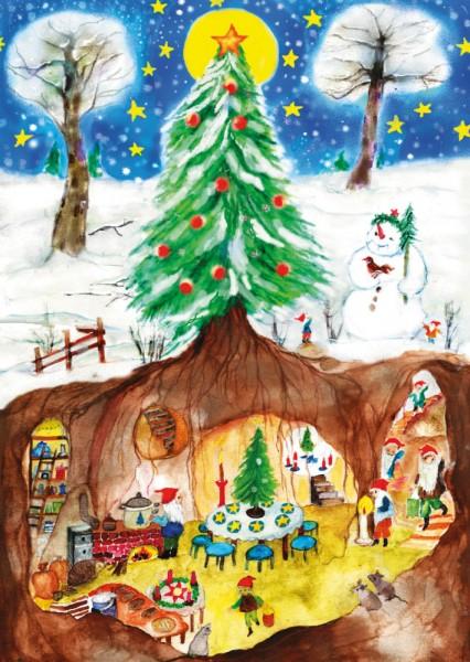 Postkarte Weihnachtszwerge