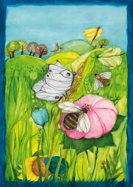 Biene, Blüte Schmetterling Postkarte