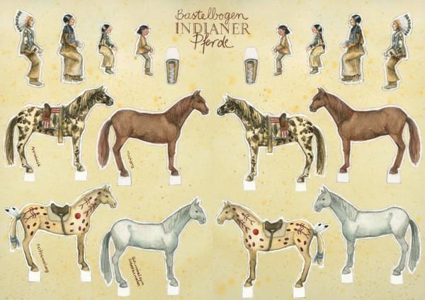 Bastelbogen Indianerpferde