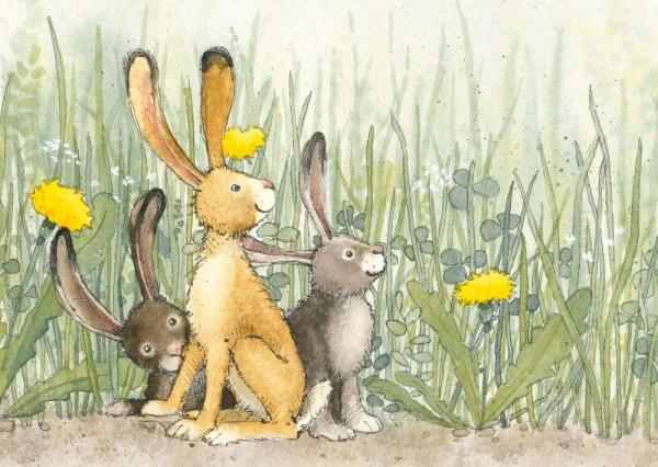 Drei Hasen Postkarte