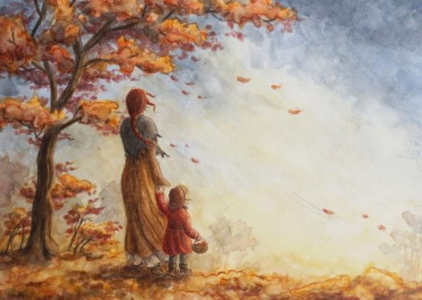 Herbstwind Postkarte