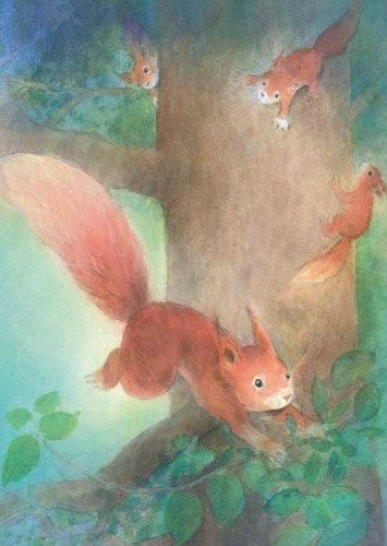 Spielende Eichhörnchen Postkarte