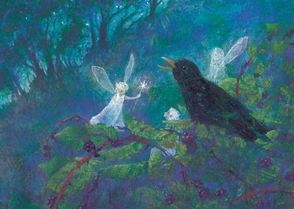 Amsel und Elfe Postkarte