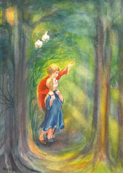 Hänsel und Gretel Postkarte